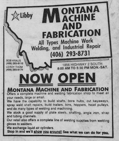 Montana Machine and Fabrication Western News Ad January, 1992